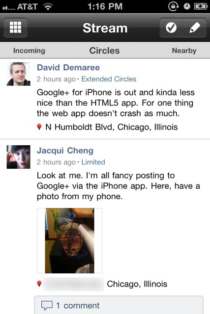 You can swipe your finger left or right from the main stream to see posts made nearby or from the general public