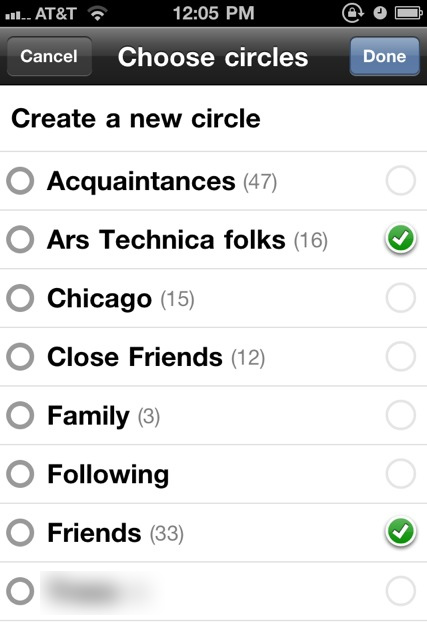 Edit your circles while on the go