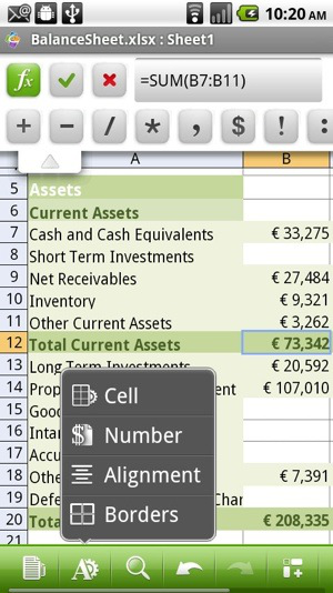 QuickOffice editing a spreadsheet on Android