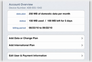 Cellular Data screen