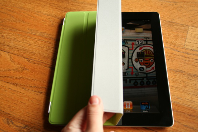 The iPad's screen wakes up when you lift the Smart Cover