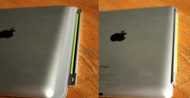 Left: Smart Cover hinge not yet attached; right: the hinge attached to the back slope
