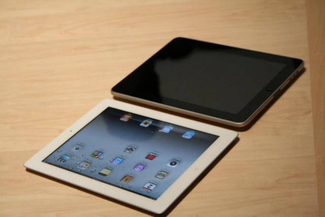 iPad 2 on the left/bottom, original on the right/top