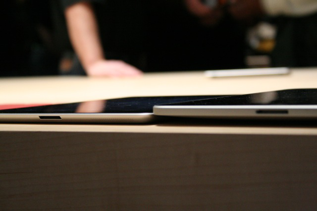 iPad 2 on the left, original iPad on the right