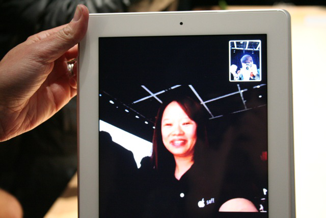 An Apple rep demoing FaceTime (I'm in the top corner taking the photo)
