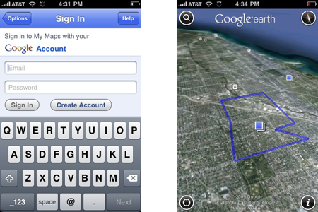 Google Earth for iPhone maps