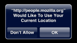 Example request for Safari to use location
