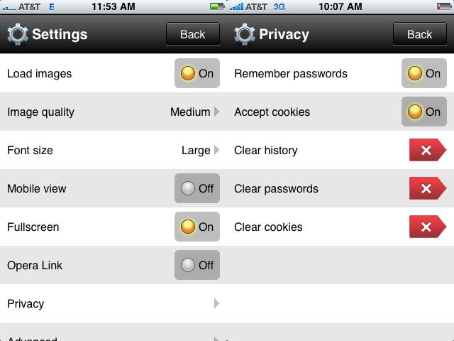 Opera Mini for iPhone screenshots
