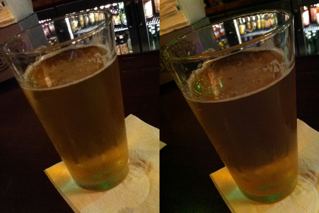 The iPod touch couldn't even get close to taking a sharp image of a pint glass, while the iPhone 4's autofocus lens had no trouble.