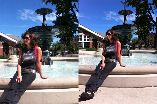Photographer Michelle Graves relaxes by a park fountain in the late summer weather.