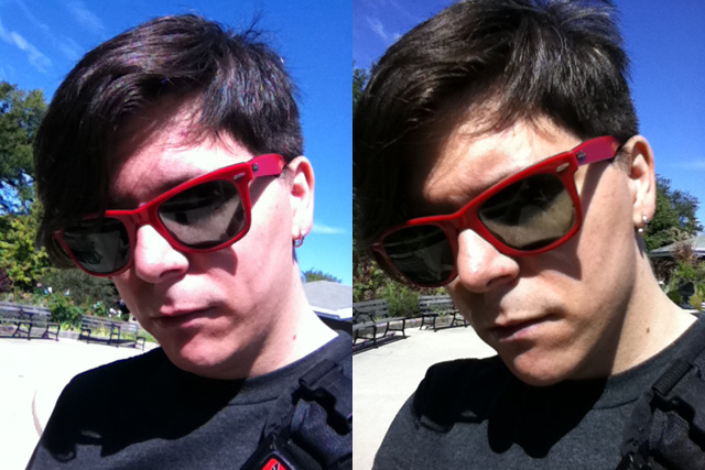 Even with what appears to be almost identical low-resolution camera modules, the iPhone 4's front-facing camera still captures a better image.