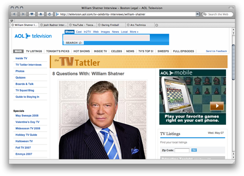 Desktop's WebKit-based tabbed browser makes it easy to access all your favorite web content, including William Shatner.