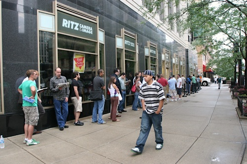 The line for iPhones at this AT&T store in downtown Chicago began at 1am. Passersby were either mildly amused or slightly annoyed by the line on their way to work.