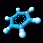 Model of a benzene molecule.