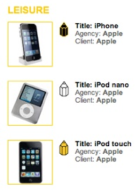 Apple cleans up the Leisure portion of the Product Design Category.