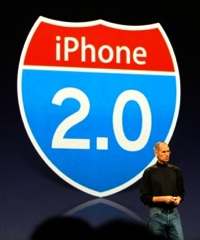 Steve Jobs detailed some of the updates in iPhone 2.0 at WWDC. Photo courtesy of Gizmodo.