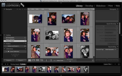 Lightroom 2.0 Beta features a new, streamlined layout.