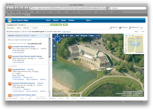 Live Map: Bird's eye view of Humboldt Park in Chicago.