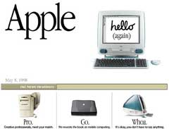 Apple's home page, circa 1998