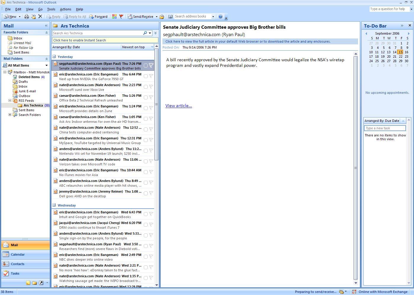 Outlook RSS Reader