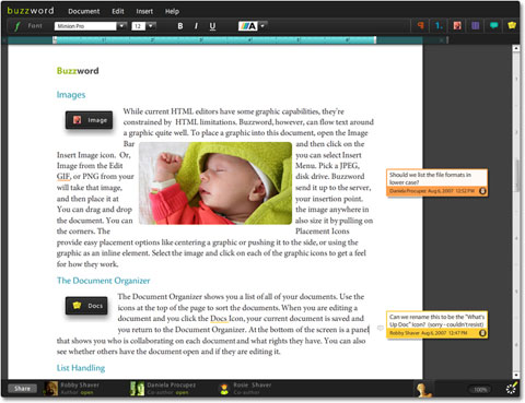 The Buzzword word processor