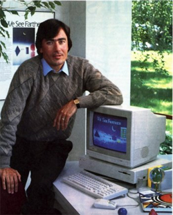 Trip Hawkins poses with an Amiga