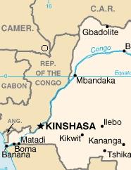 Map of Democratic Republic of Congo