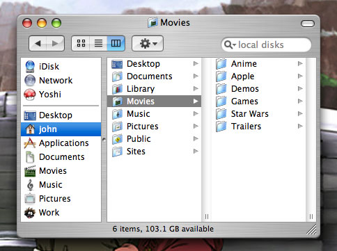 Finder with toolbar and sidebar