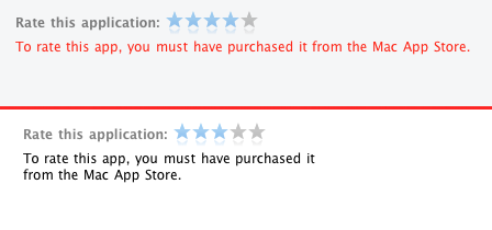 No rating apps for you! (If you didn't buy them through the MAS, that is)