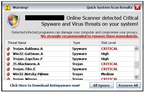 Exhibit B: A warning from a fake antimalware product