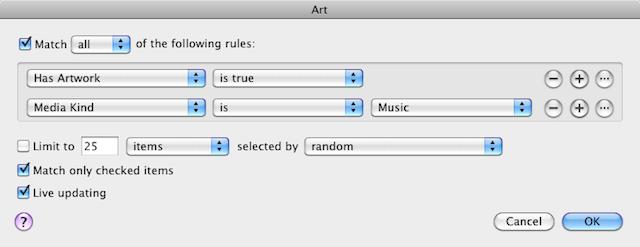 An iTunes smart playlist that matches music with album art.