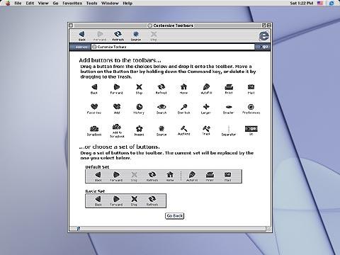 Mac IE5 customizable toolbar