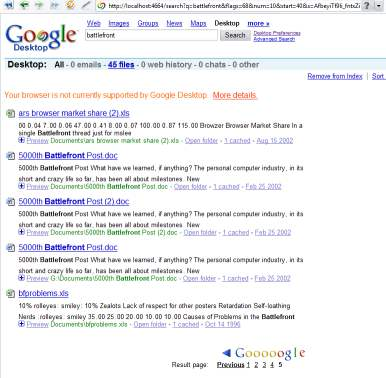 Google Desktop results
