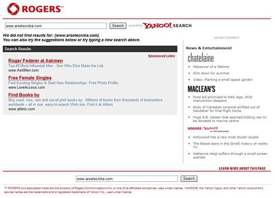 Rogers redirect