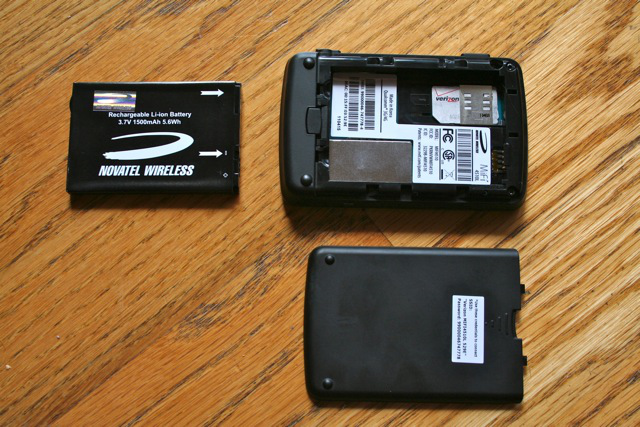 The LTE SIM card slides in under the battery.