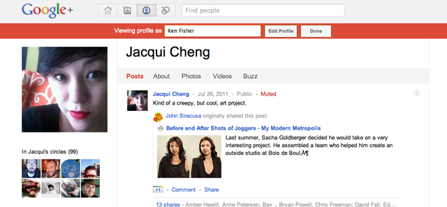 The red bar shows who I am seeing my profile as, so that I can verify which posts that person can or can't see.