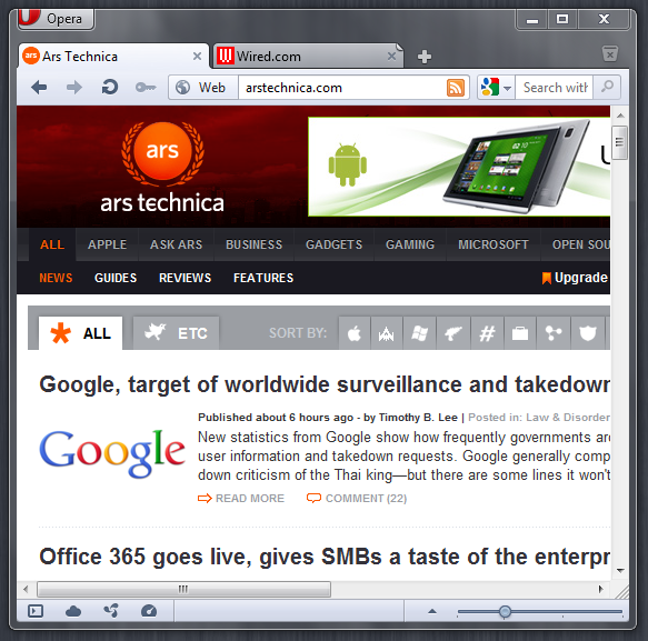 Opera 11.50 on Windows 7