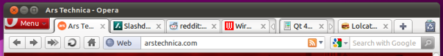 The Opera tab bar with an expanded tab stack