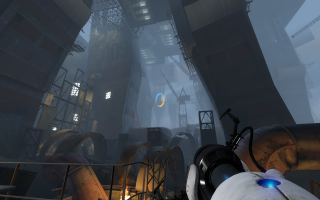 It's hard to capture just how ridiculously enormous—and well-lit—Aperture Science's cavernous interior is.