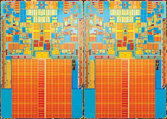 Penryn quad-core processor die. Image credit: Intel