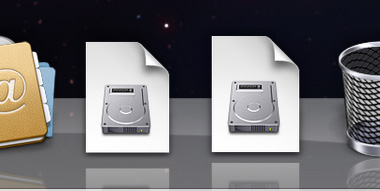 The Downloads folder and a disk image in the Dock