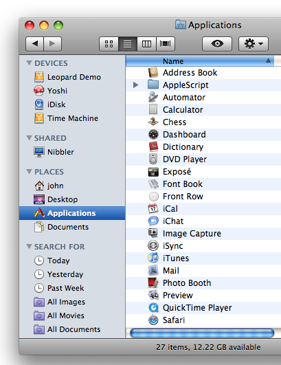 The Finder sidebar