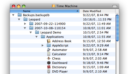 Complete disk contents in each backup
