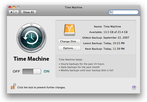 Time Machine preferences