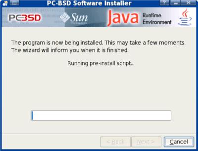 PC-BSD 1.3 default configuration, java installation screen