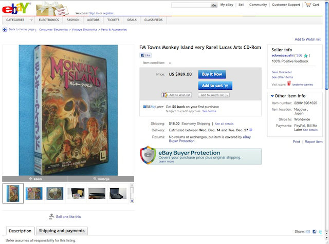 ScummVM drives a lucrative secondary reseller market on eBay.
