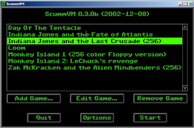 ScummVM 0.3.0 added a GUI launcher, which used a font similar to that found in the SCUMM games.