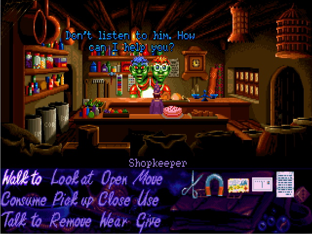 <em>Simon the Sorcerer</em> (Amiga version pictured) was the first non-SCUMM game supported by ScummVM.