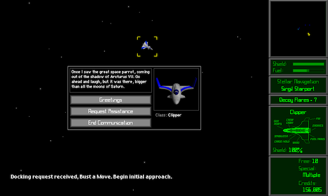 You could talk to other pilots in their ships and communicate with nearby planets or space stations in <em>Escape Velocity</em>.