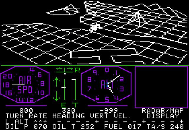 The legendary <em>Flight Simulator</em>. This shot comes from the Apple II version.
